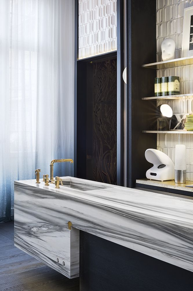 Baños originales /Diseño baño / lavabos baño: #Encimera de mármol ...