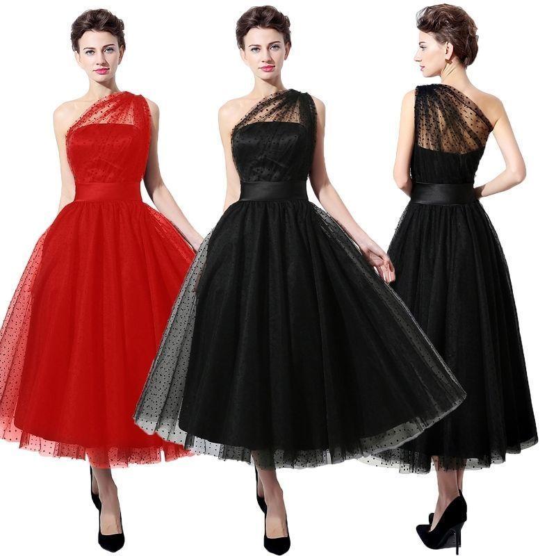 Plus Size Black One Shoulder Tea-length Cocktail Prom Dresses Party ...