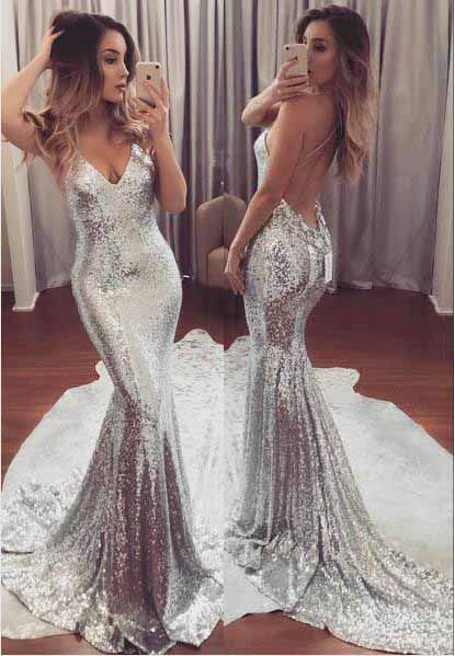 d82383802b69 Silver Sequined Prom Dress, Bling Prom Dresses,Mermaid Prom Dress,Backless  Prom Dresses,Sexy Prom Dress,Spaghetti Straps Prom Dress,Prom Dresses