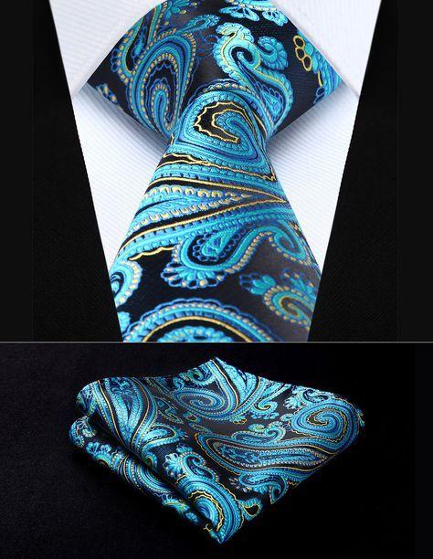 USA Mens Black Gold Paisley Tie Set Silk Necktie Pocket Square Cufflinks Party
