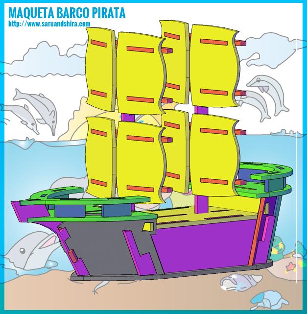 Si que es grande el Barco Pirata. Pues tiene unos 15 cm. de altura, y 14 cm, de largo, es muy bonito. No olvides que necesitas una tarde para construirlo y si lo haces acompañado mucho mejor. Puedes pintarlo el día antes de construirlo. ¡Hasta pronto!