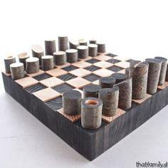 Modern Minimalist Rustic Chess Set Wood Log Branch Pieces By Andrew Lund Tableros De Ajedrez Creaciones De Madera Que Hacer Para Vender