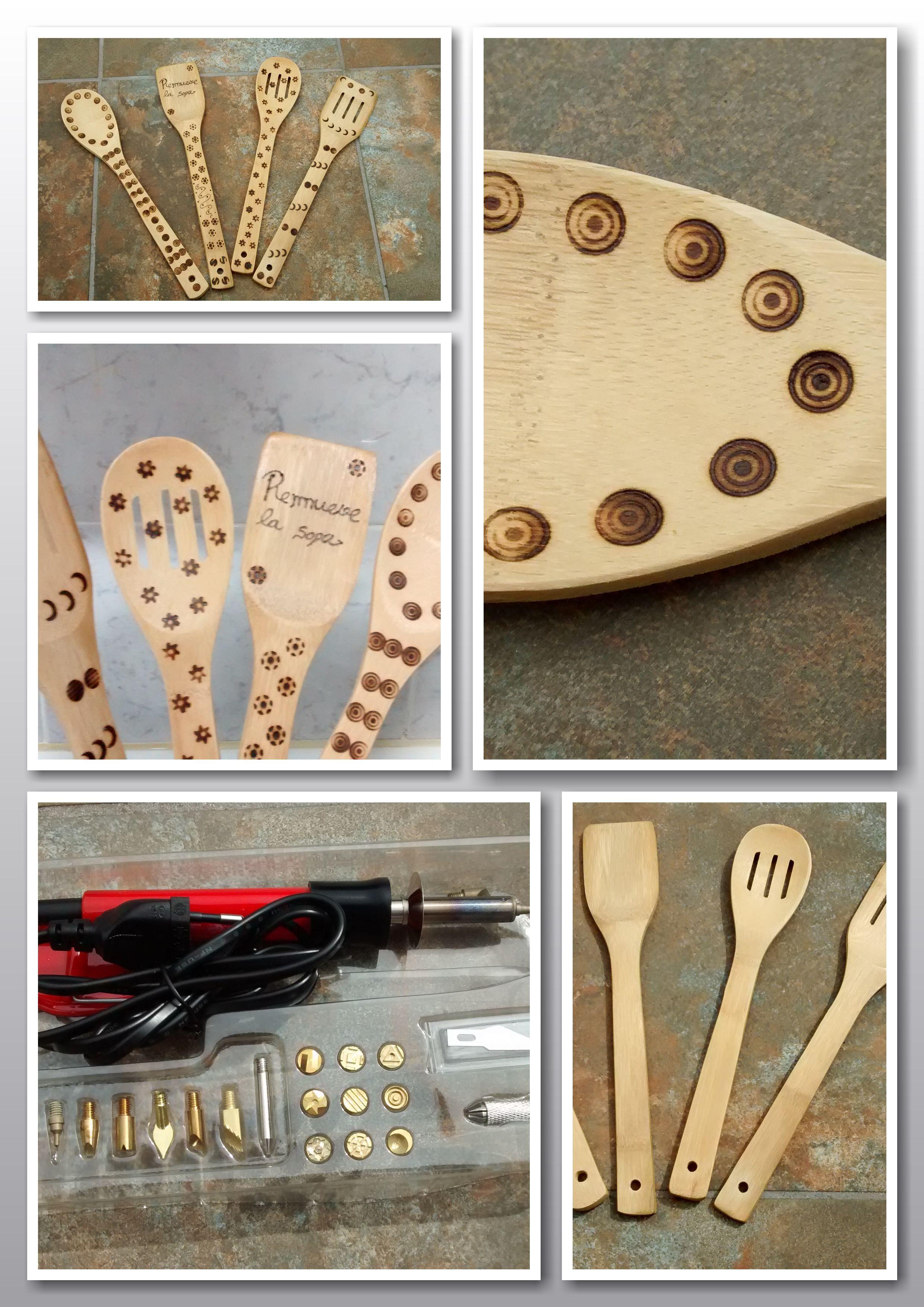 Cucharas de madera decoradas con pirógrafo a mano | Pirograbado ...