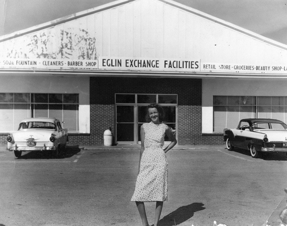 Edna Thompson stands in front of Eglin Air Force Base's