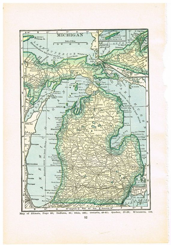 DIGITAL Download 1920\'s MICHIGAN Map US Map for by KnickofTime ...
