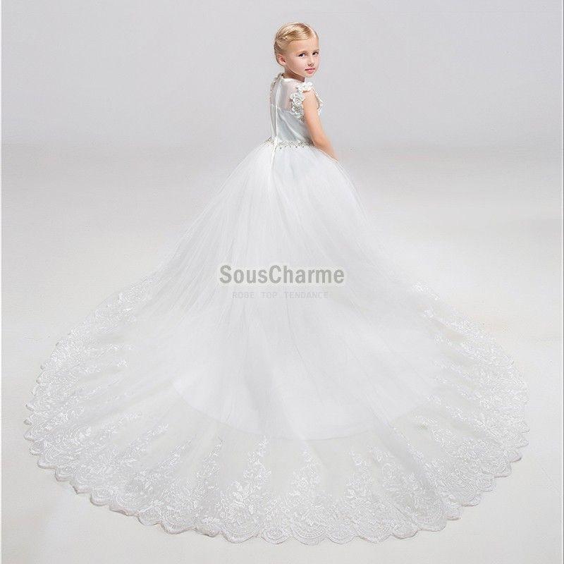 robe mariage enfant splendide en satin et