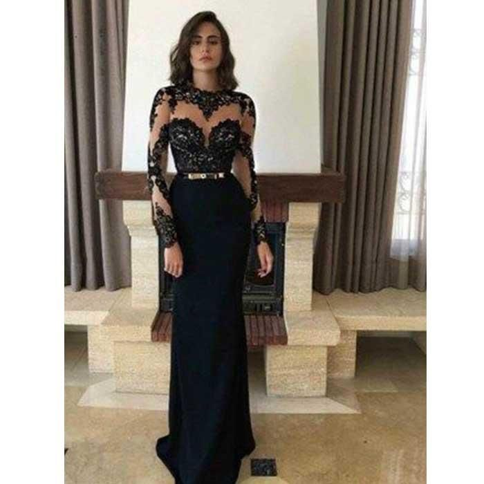 2019 Black Formal Evening Gown Long Sleeve Mermaid Prom Dress With Lace Prom Dresses Long With Sleeves Prom Dresses For Teens Long Black Long Sleeve Prom Dress