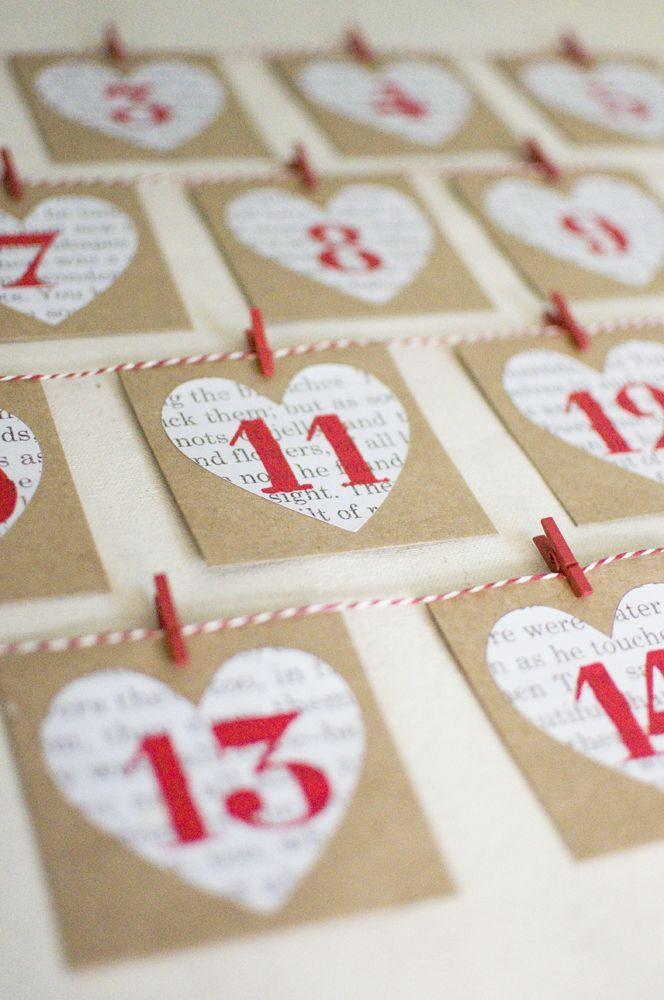 Make This Christmas Advent Calendar DIY (red still, but not hearts