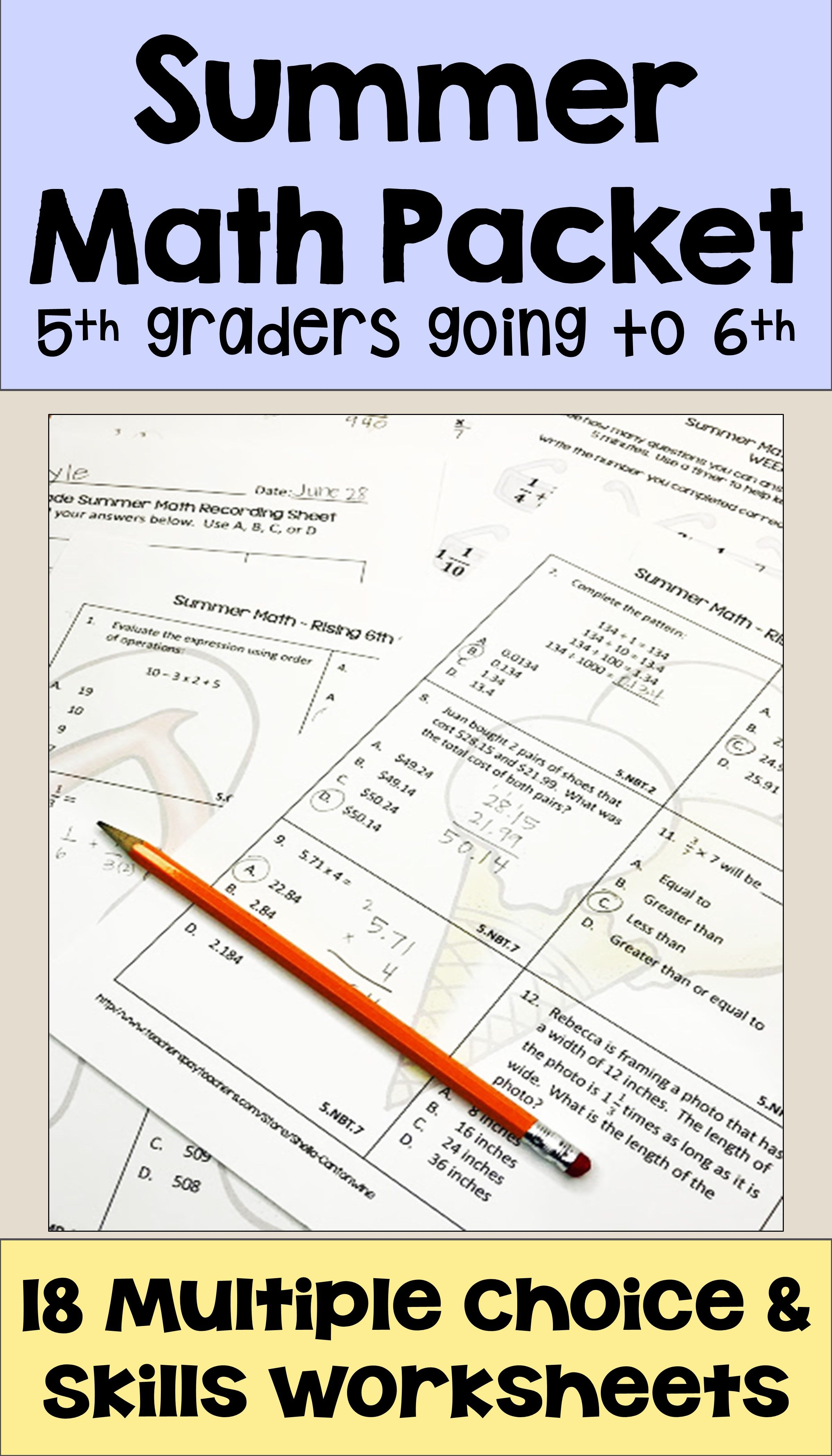 Summer Math Packet For Rising 6th Graders