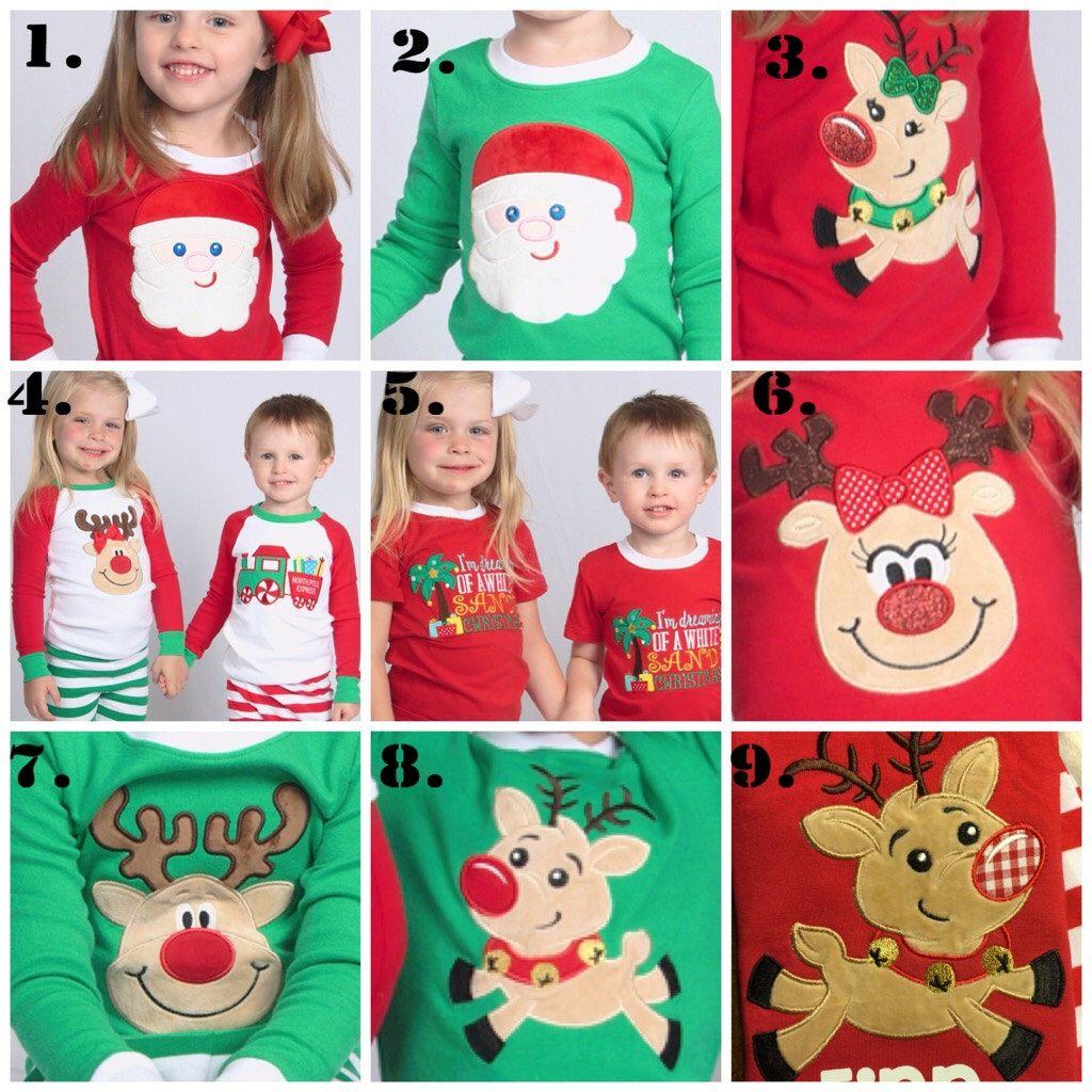 f1b65b0782f2 Christmas pajamas for family Reindeer or Santa applique green red ...