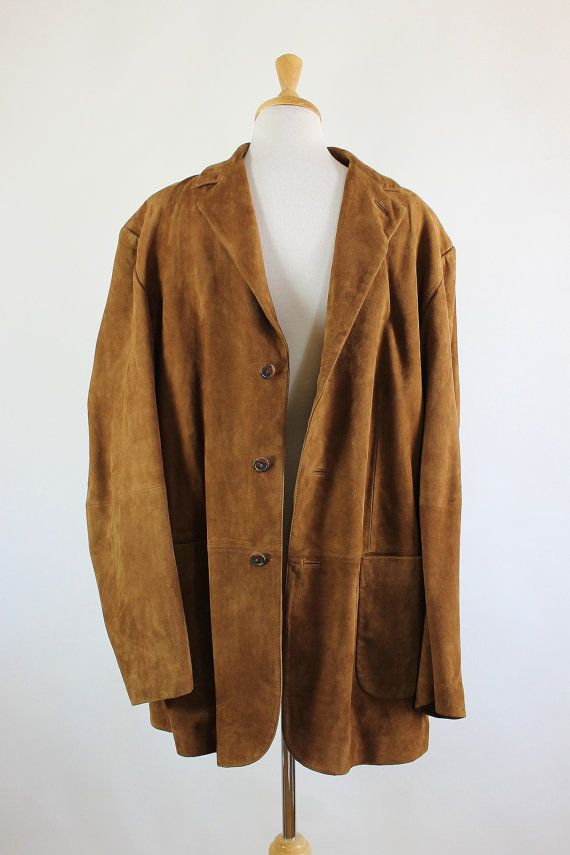 Retro 90s Mens Soft Brown Leather Suede Jacket Mens Size Medium
