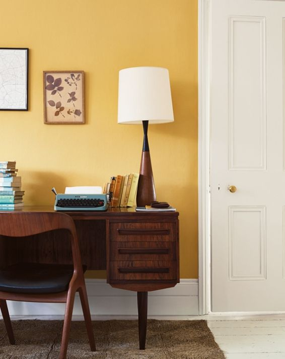 Love This Yellow Paint From Fired Earth And Brass Doorknobs Dining Room Inspiration Interior Wall And Floor Tiles