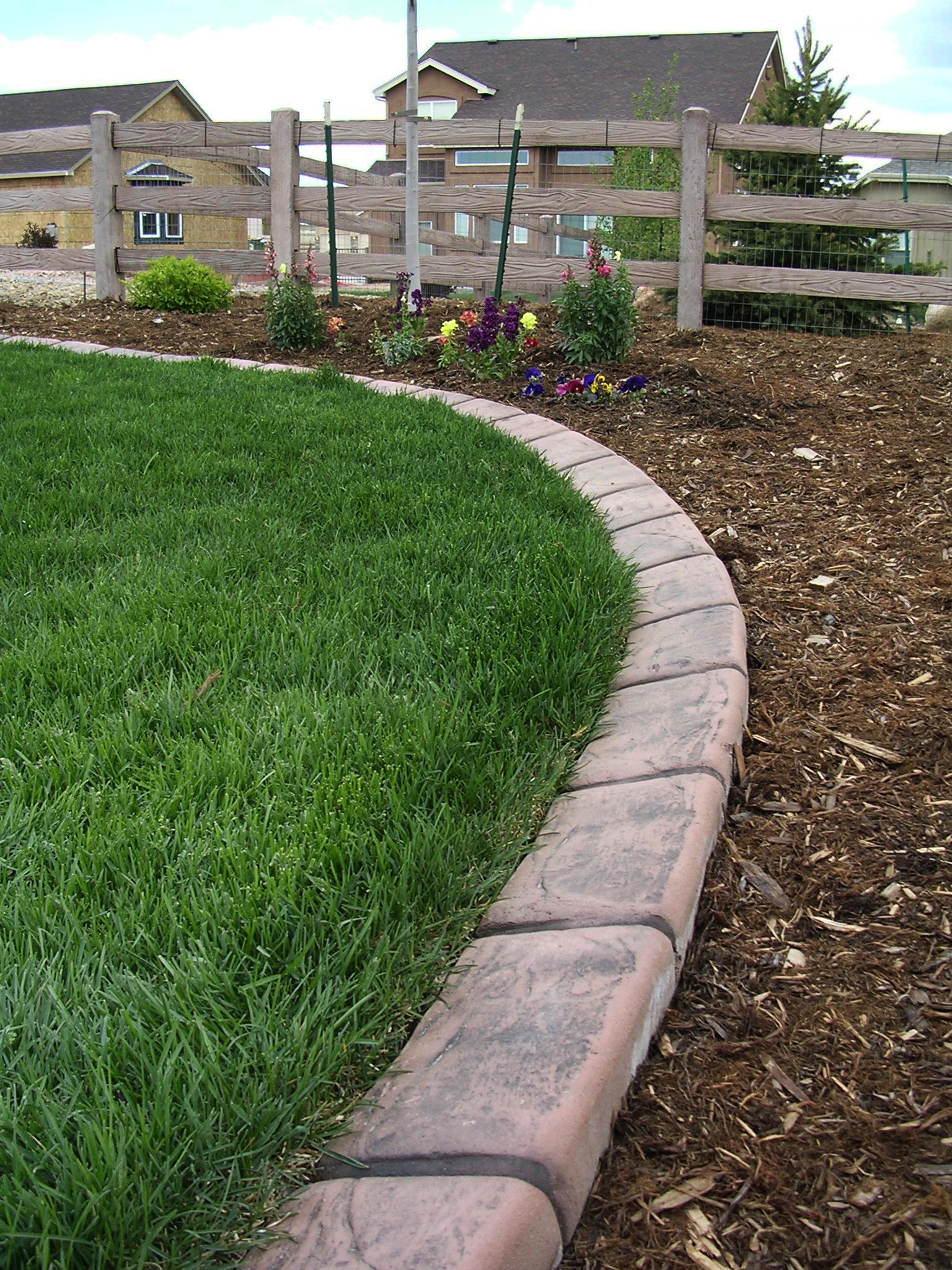 New concrete edging in colorado springs looks so sweet for Lawn and garden landscaping ideas