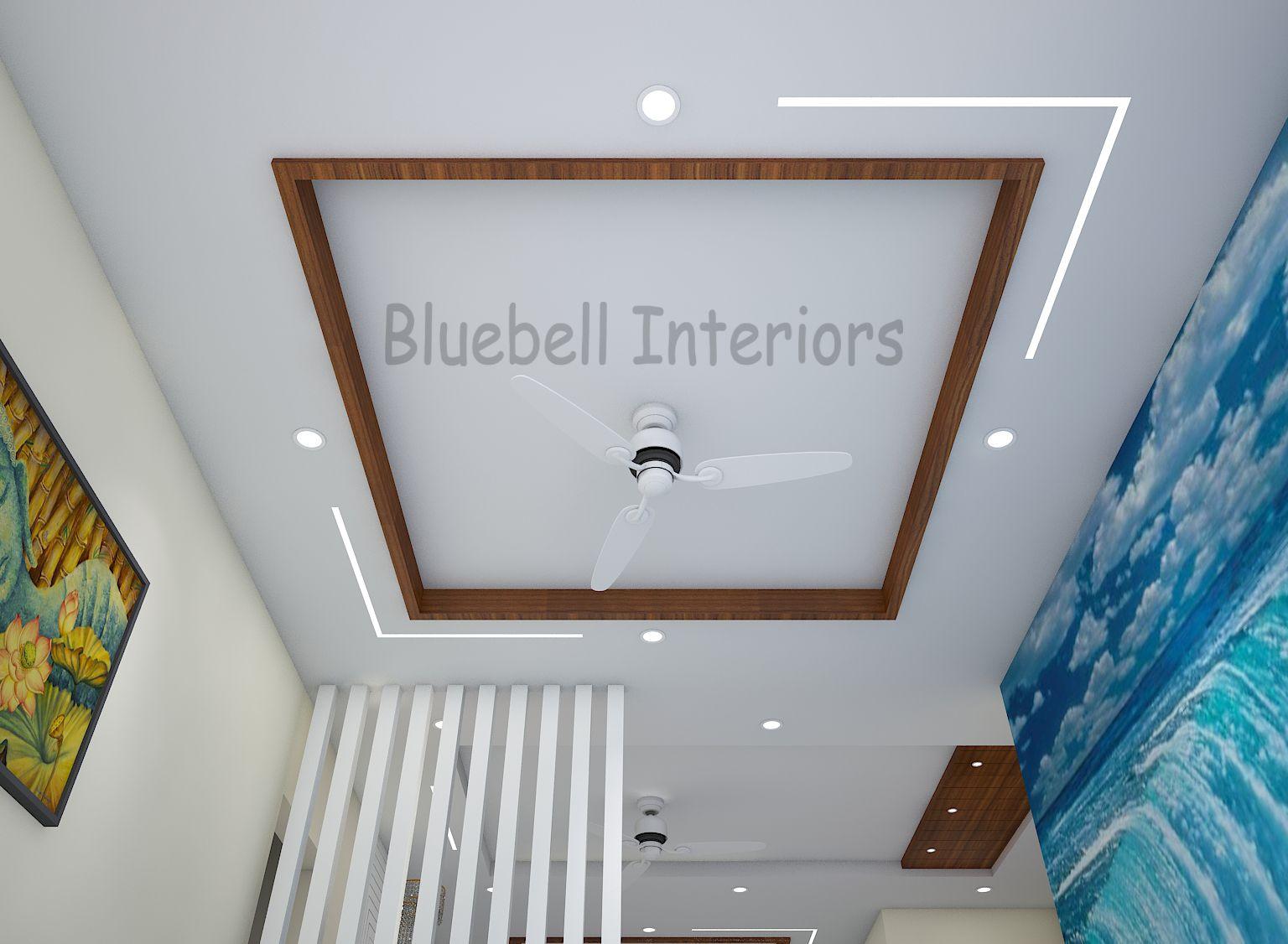 living room false ceiling, wooden border, profile light in ...