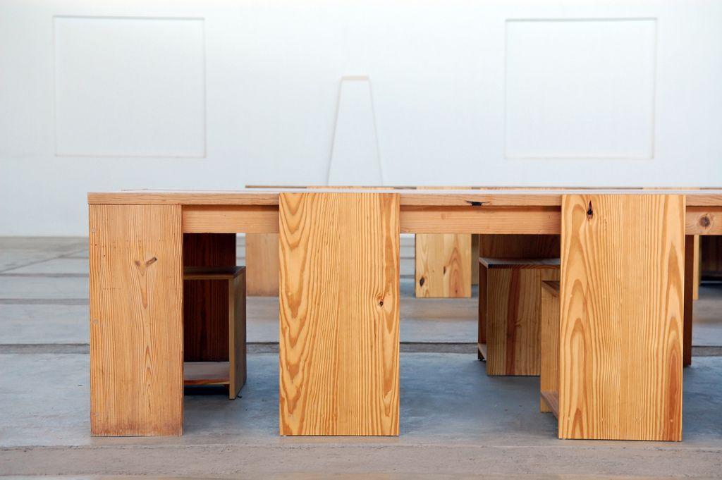 Superb Donald Judd, Artist. The Arena, Chinati Foundation, Marfa, Texas. Table