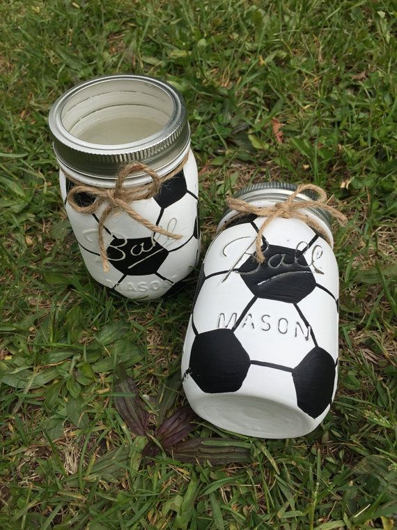Soccer Mason Jar Soccer Gift Birthday By Midnightowlcandleco Soccer Gifts Soccer Centerpieces Soccer Crafts