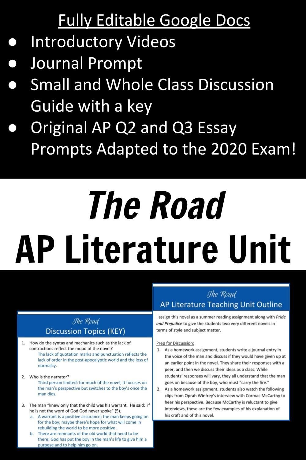 The Road Discussion Guide Key 2020 Ap Exam Essay Prompt Remote Learning Literature Topics Topic