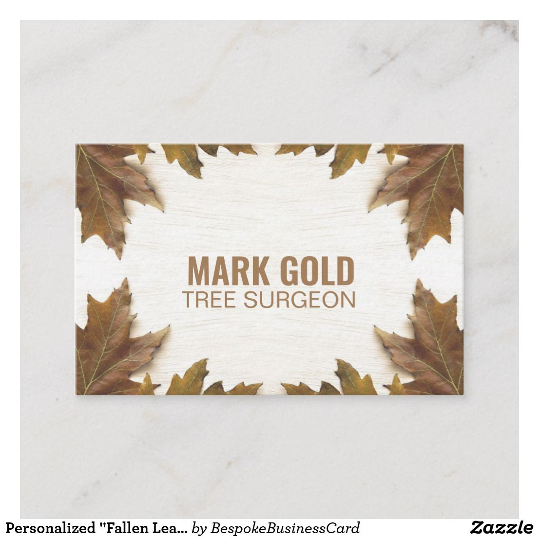 Personalized Fallen Leaves On Wood Uk Euro Business Card