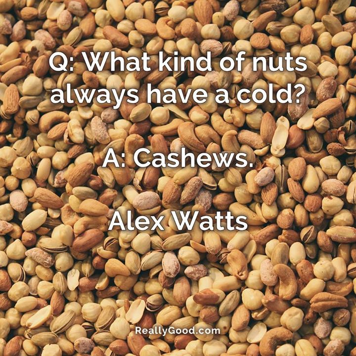 Q What Kind Of Nuts Always Have A Cold A Cashews Alex Watts Quote Food Quotes Food Photo Quotes