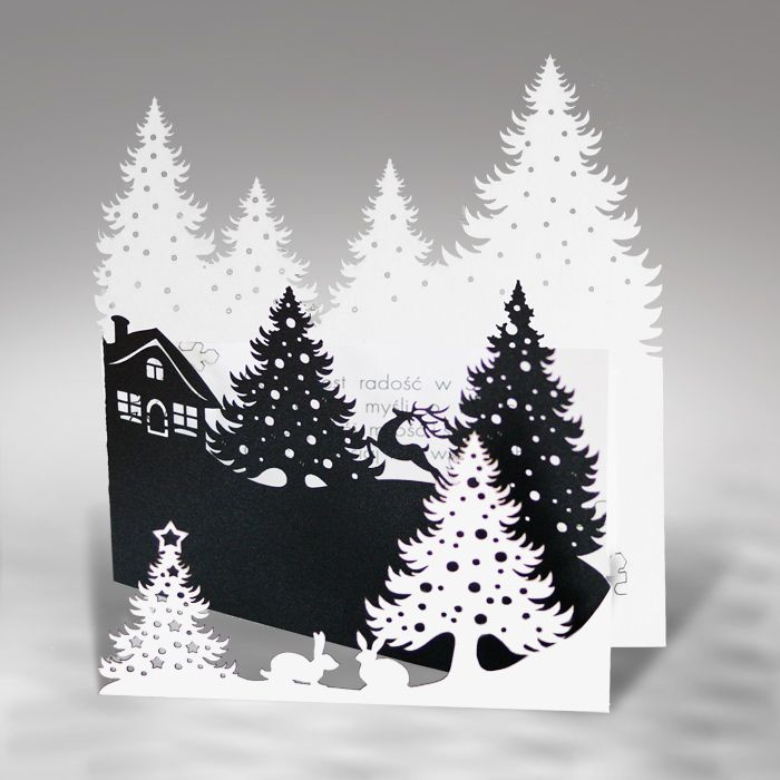 Personalised Handmade Christmas Card Winter Village in White