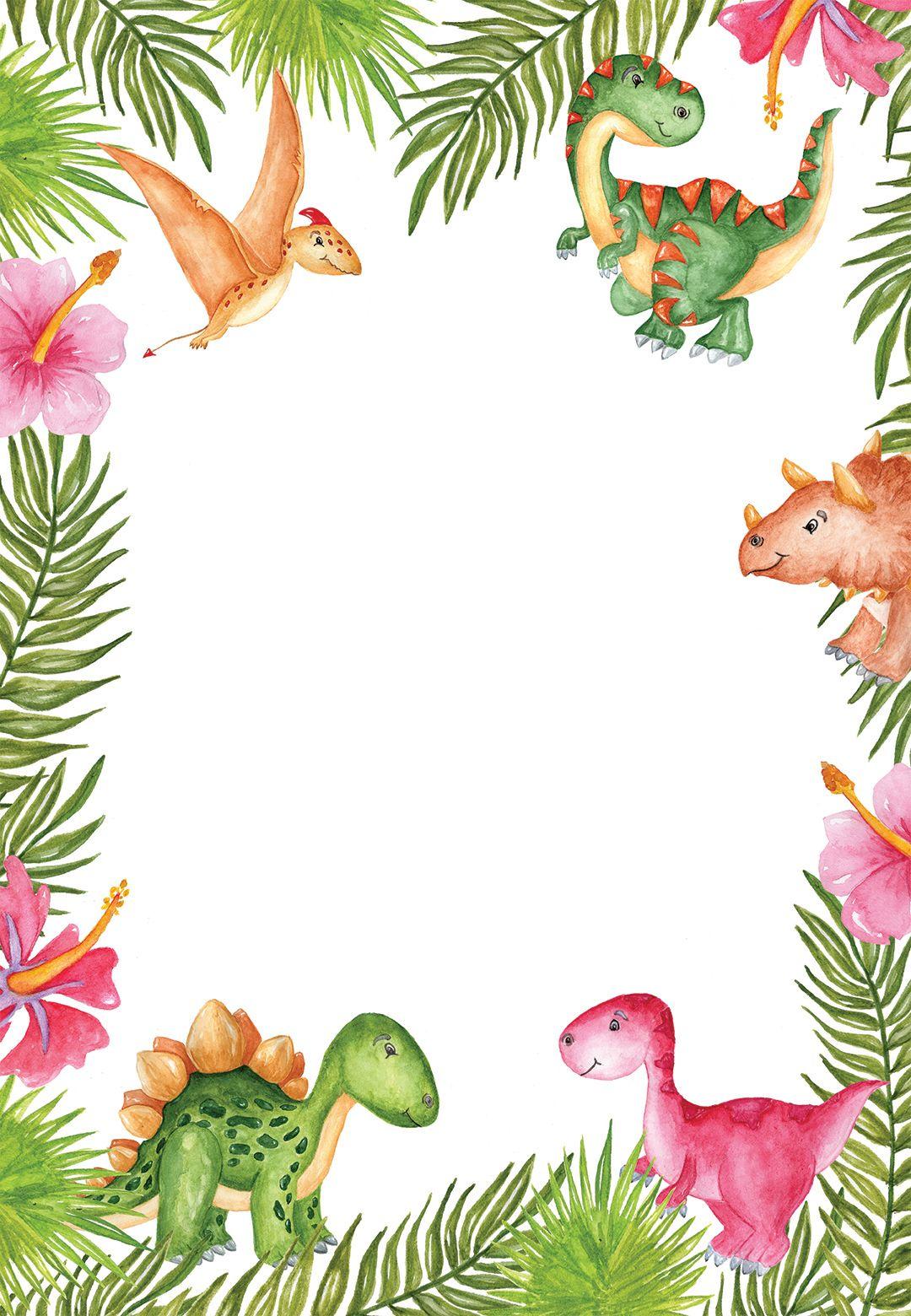 Watercolor Dinosaur Birthday Invitation Template Free Con
