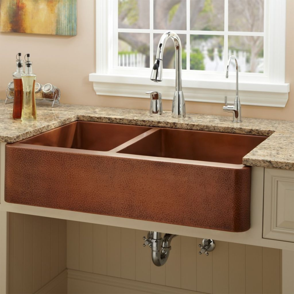 Copper kitchen sink with vintage look for classy kitchen for Coloured sinks kitchens