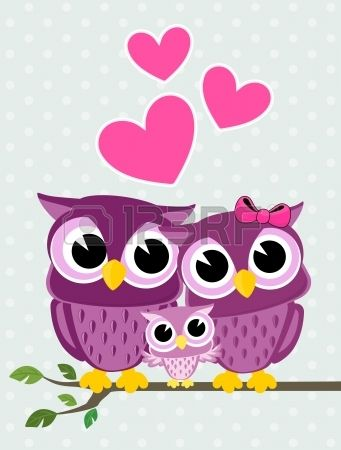 Illustration Of Cute Owls Couple With Baby Owl Sitting On A Branch Vector Art Clipart And Stock Vectors