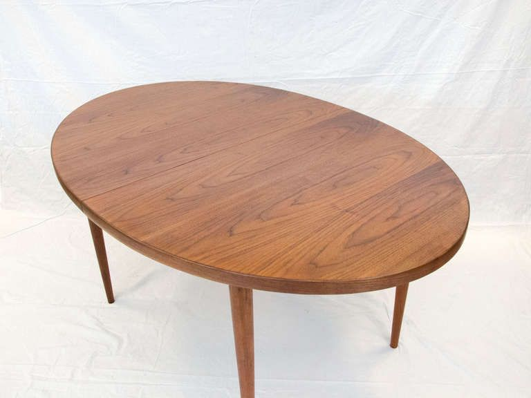 b130c4b55db3 Mid Century Oval Walnut Dining Table - Two Leaves