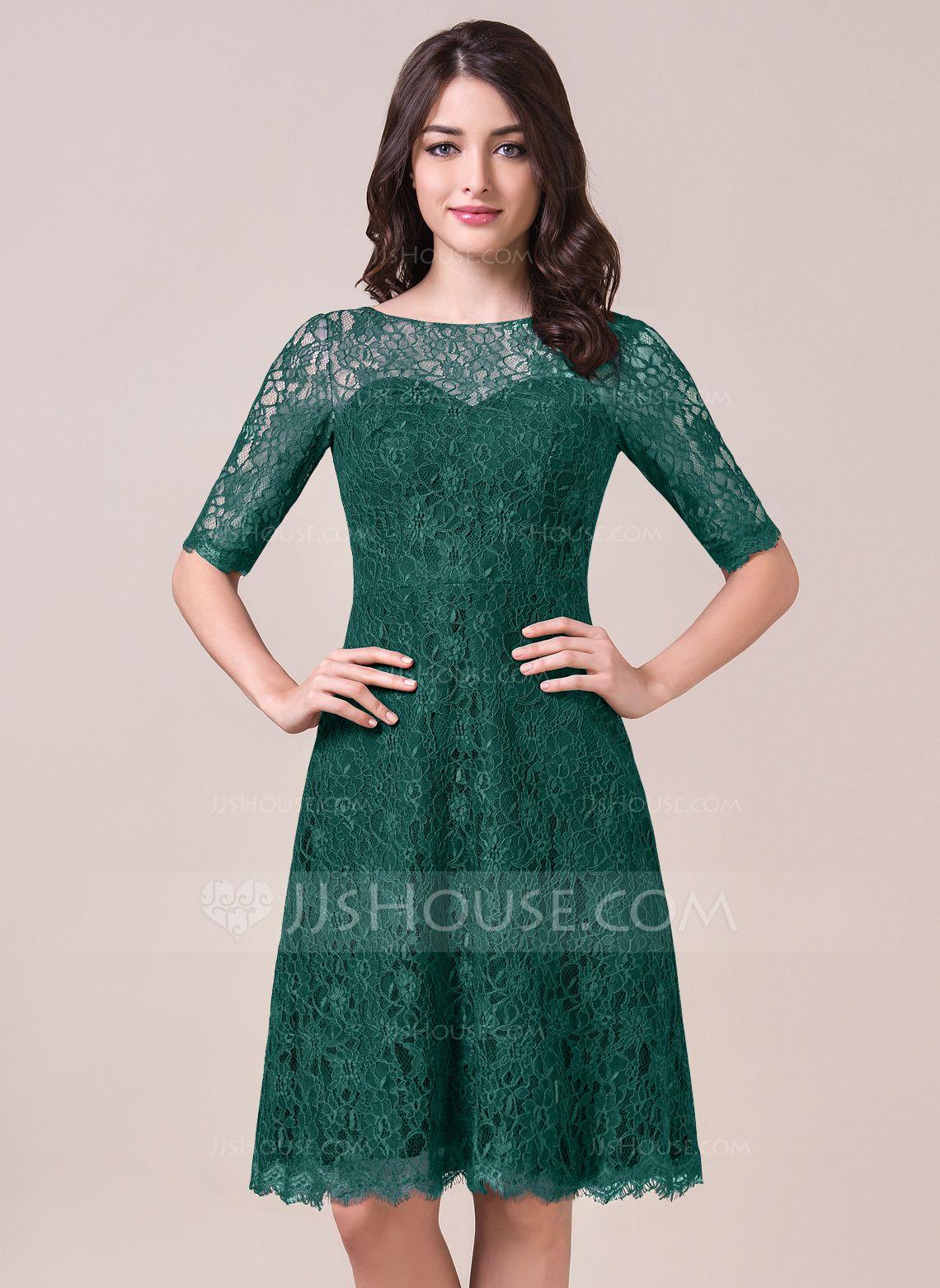 A-Line/Princess Scoop Neck Knee-Length Lace Bridesmaid Dress (007056861) - JJsHouse