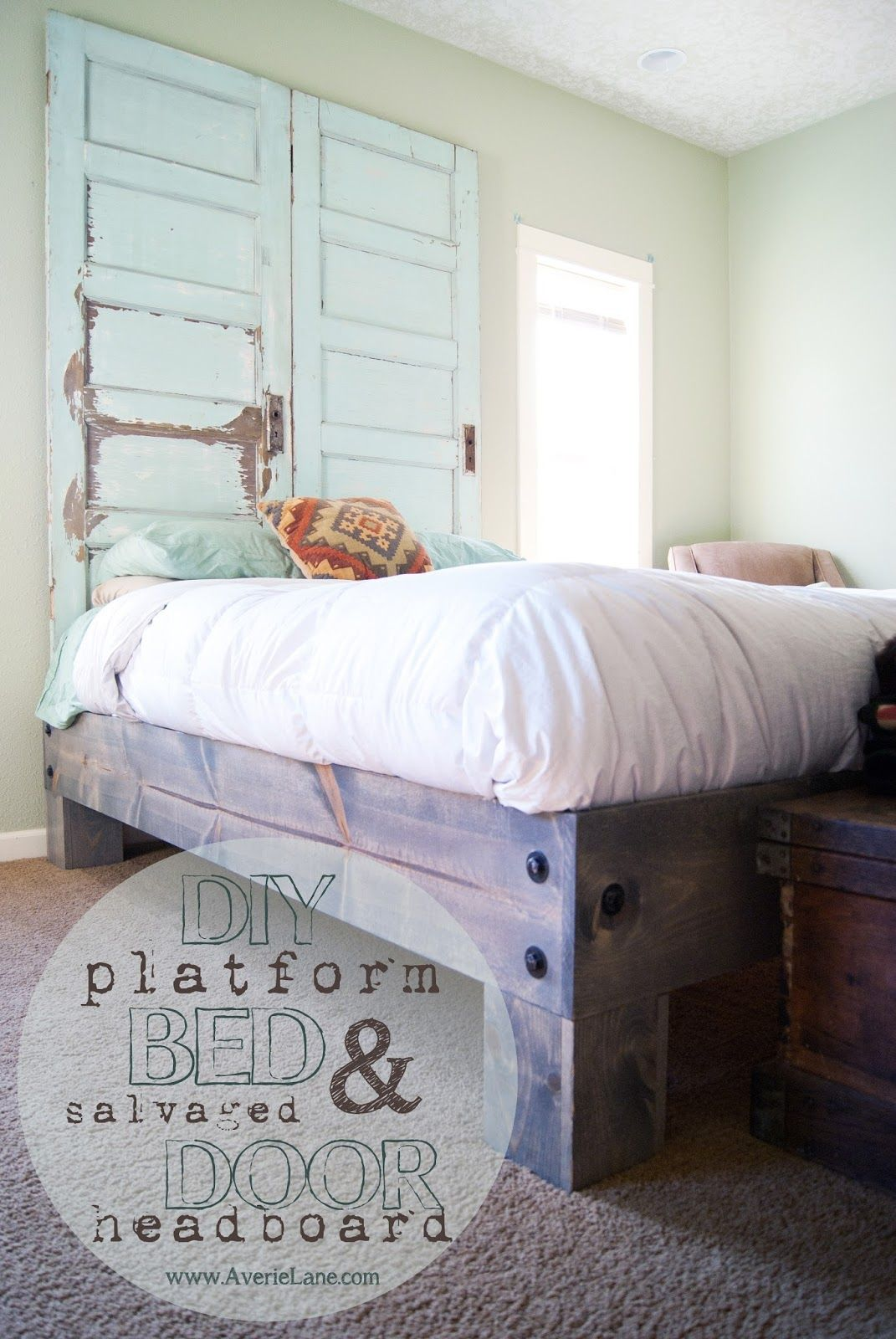 Diy Platform Bed Salvaged Door Headboard Part One Diy