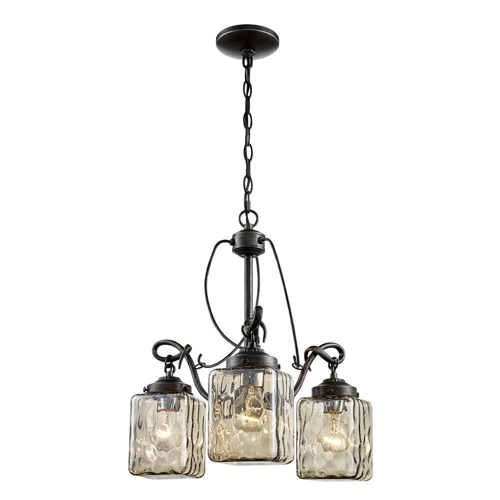 Bel Air Lighting Moore 3 Light Antique Bronze Chandelier With Water Glass Shades