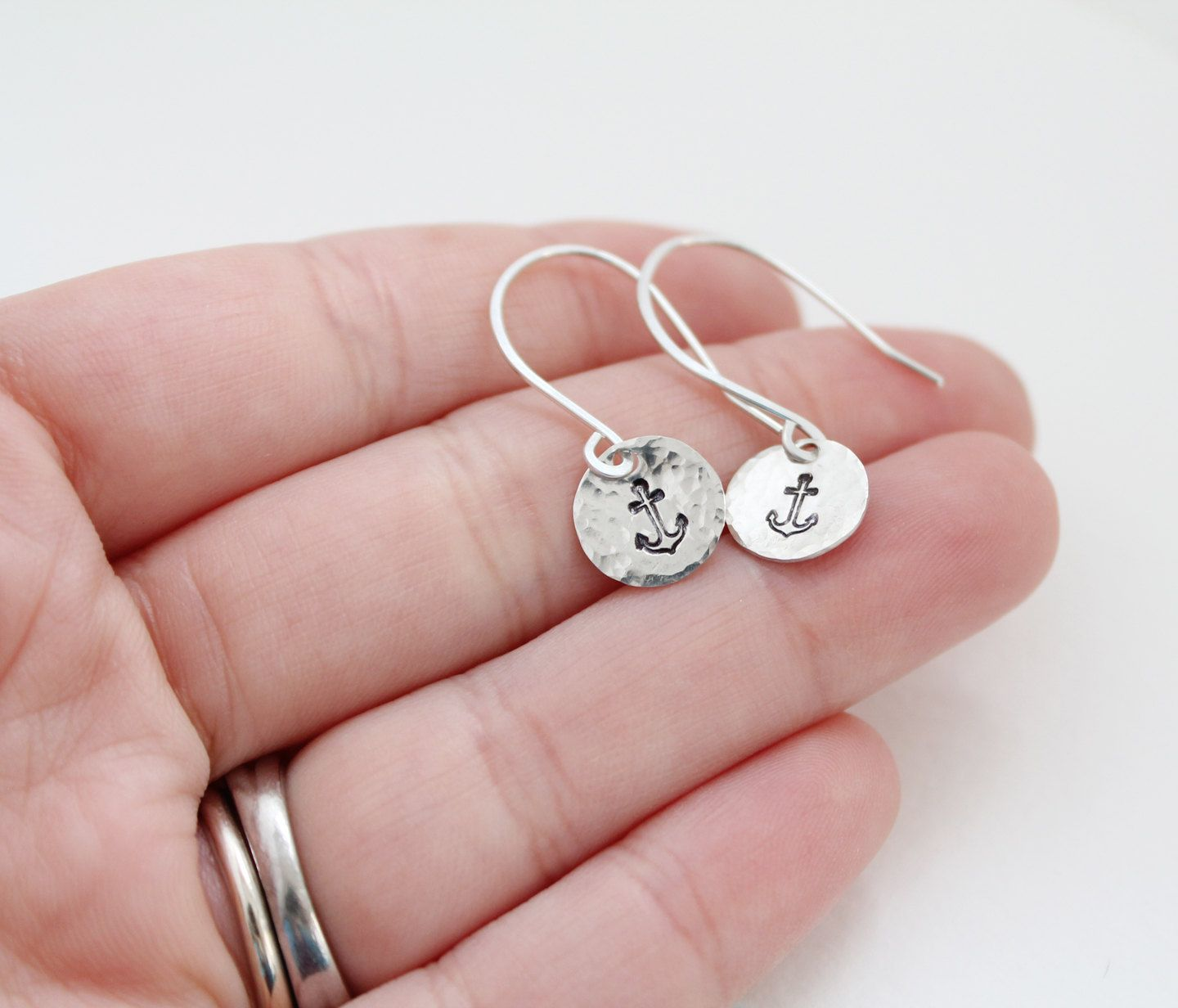 Tiny Silver Anchor Earrings - Hand Stamped Nautical Jewelry Sterling ...