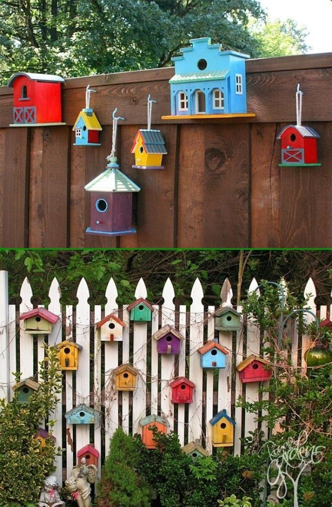 Cool bird house garden fence decor 20 backyard fence for Fence ornaments ideas
