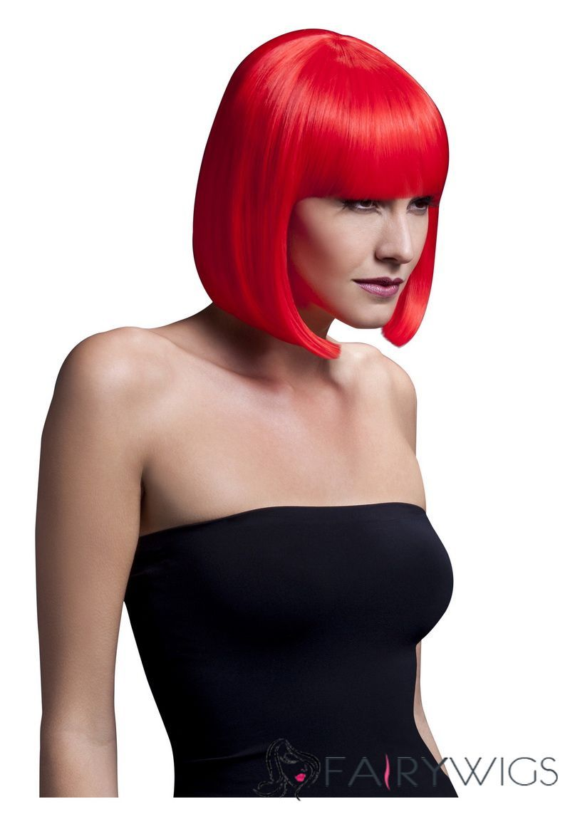 Fever elise neon red wig red wigs real hair wigs