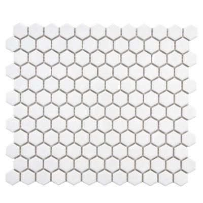 Merola Tile Metro Hex Glossy White 10 1 4 In X 11 3 4 In X 5 Mm Porcelain Mosaic Tile 8 56 Sq Ft Case Fxlmhw The Home Depot Mosaic Flooring Hexagonal Mosaic Porcelain Mosaic