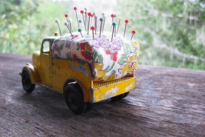 Toy Truck PinCushion: Cute idea to reuse a toy truck as a pin cushion!  [re-purposing at its best]
