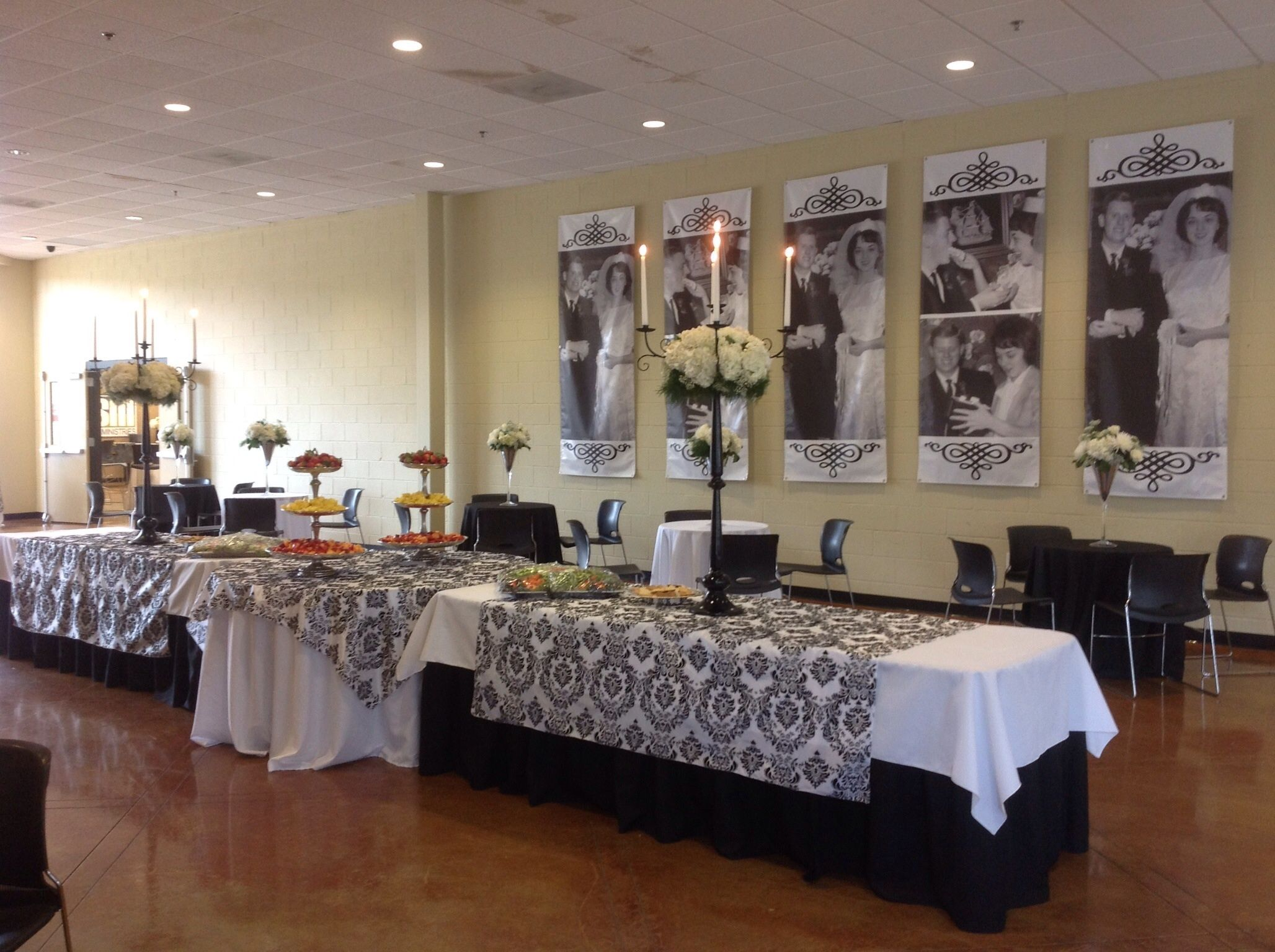 Black and white anniversary party with photo banners   Parties ...