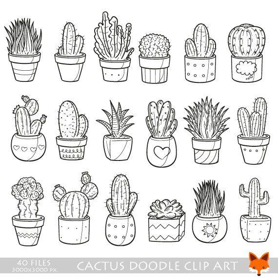 Cactus Doodle Vector Icons Plant Succulent Pot Doodle Icons Clipart Scrapbook Set Coloring Hand Drawn Sketch Line Art Hand Drawn Design Plant Doodle Doodle Drawings Doodle Icon