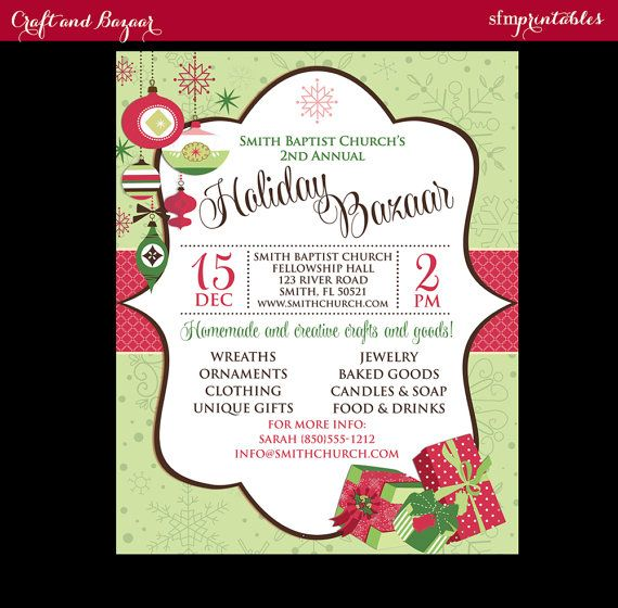 Holiday Craft Fair Christmas Bazaar Invitation Poster   Template - fundraiser invitation templates