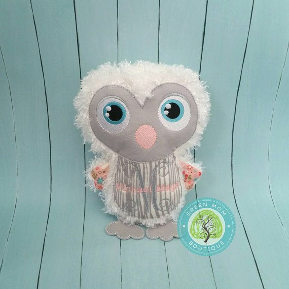 Personalized Penguin or Owl bird stuffed plush toy doll.  Great gift for child's birthday, first communion, or new baby shower!  Monogrammed plushie stuffie stuffy birdie white grey pink little girl or boy