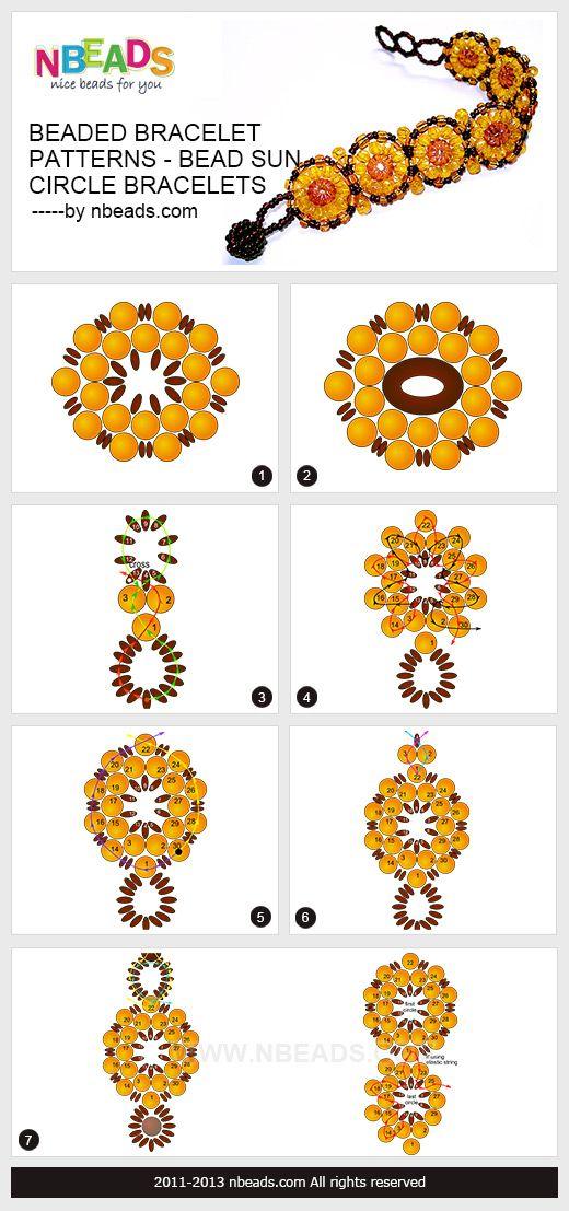 beaded bracelet patterns - bead sun circle bracelets