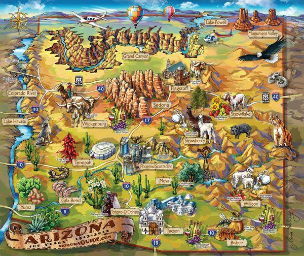 Map Of Arizona Detailed.Large Detailed Tourist Illustrated Map Of Arizona State Tourism