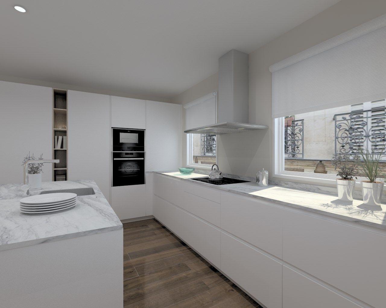 Cocinas santos modelo line laca seda blanco encimera for Encimera cocina granito