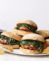Italian-Sausage Burgers with Garlicky Spinach Recipe from Food & Wine