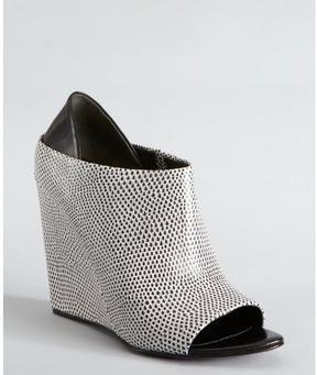 b1d61897e ShopStyle: Alexander Wang white and black lizard embossed leather 'Alla'  peep toe wedges