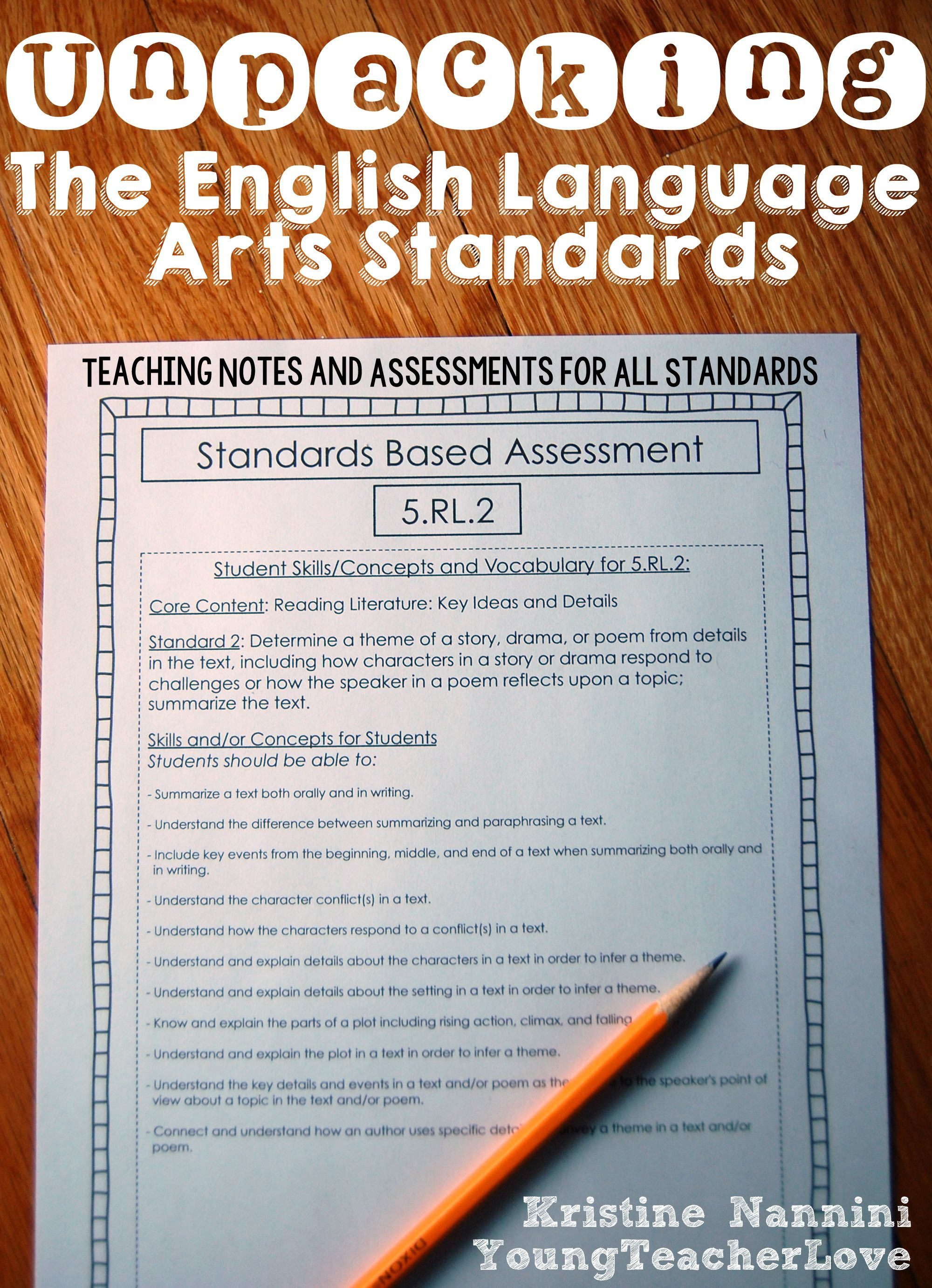 Unpacking The Common Core Teaching Notes That Break Down The English Language Arts Common Core