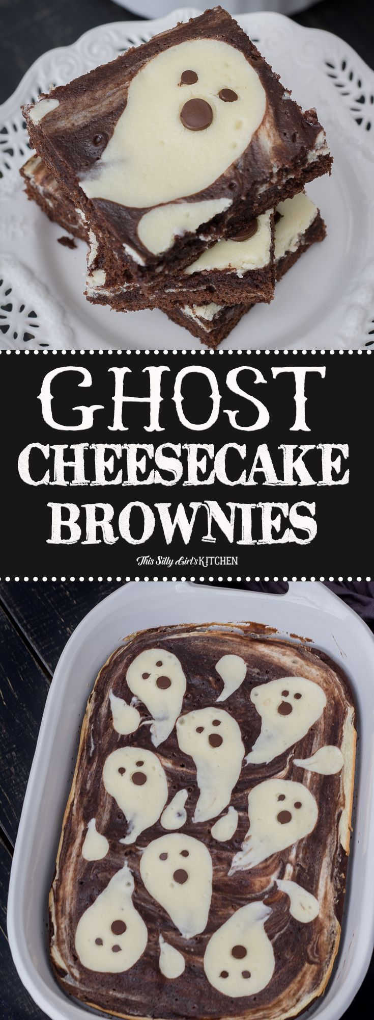 Cheesecake Brownies, made with fun ghost shapes, perfect