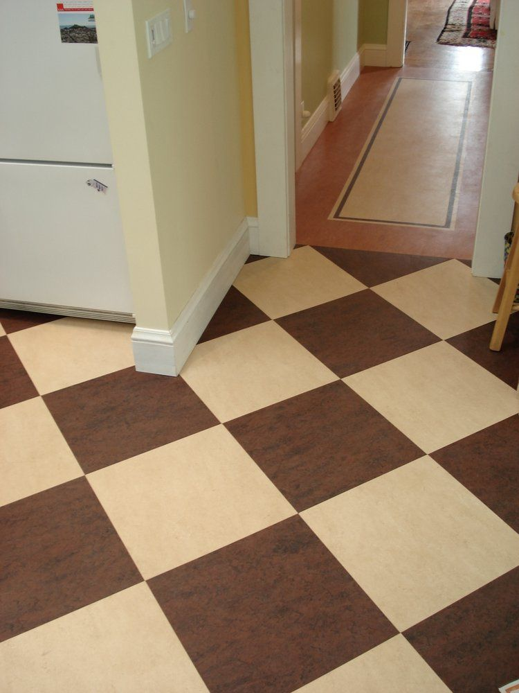 Kitchen Marmoleum Modular Tile In Checkerboard Design In Brown And
