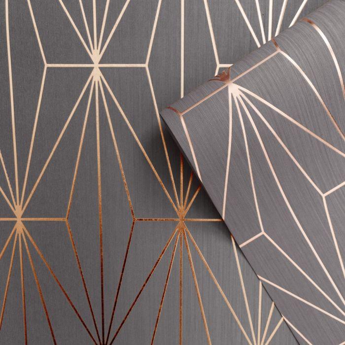 Kayla Metallic Geometric Wallpaper Charcoal / Rose Gold