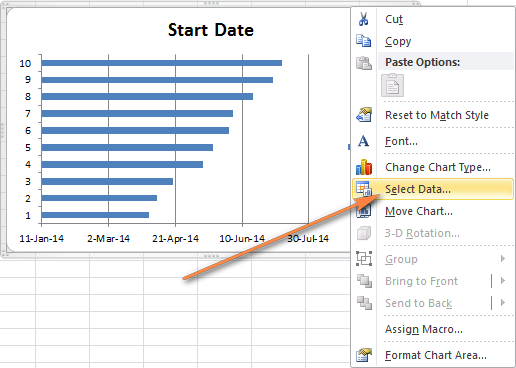 how to make a gantt chart in ms project 2010: Right click anywhere within the chart area and choose select data